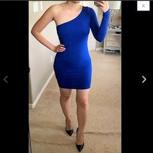 Royal Blue One Shoulder Long Sleeve Cotton Dress M